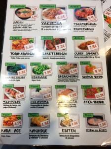 Sushiya Bentou menu
