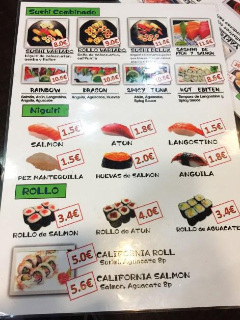 Sushiya Bentou carta y platos