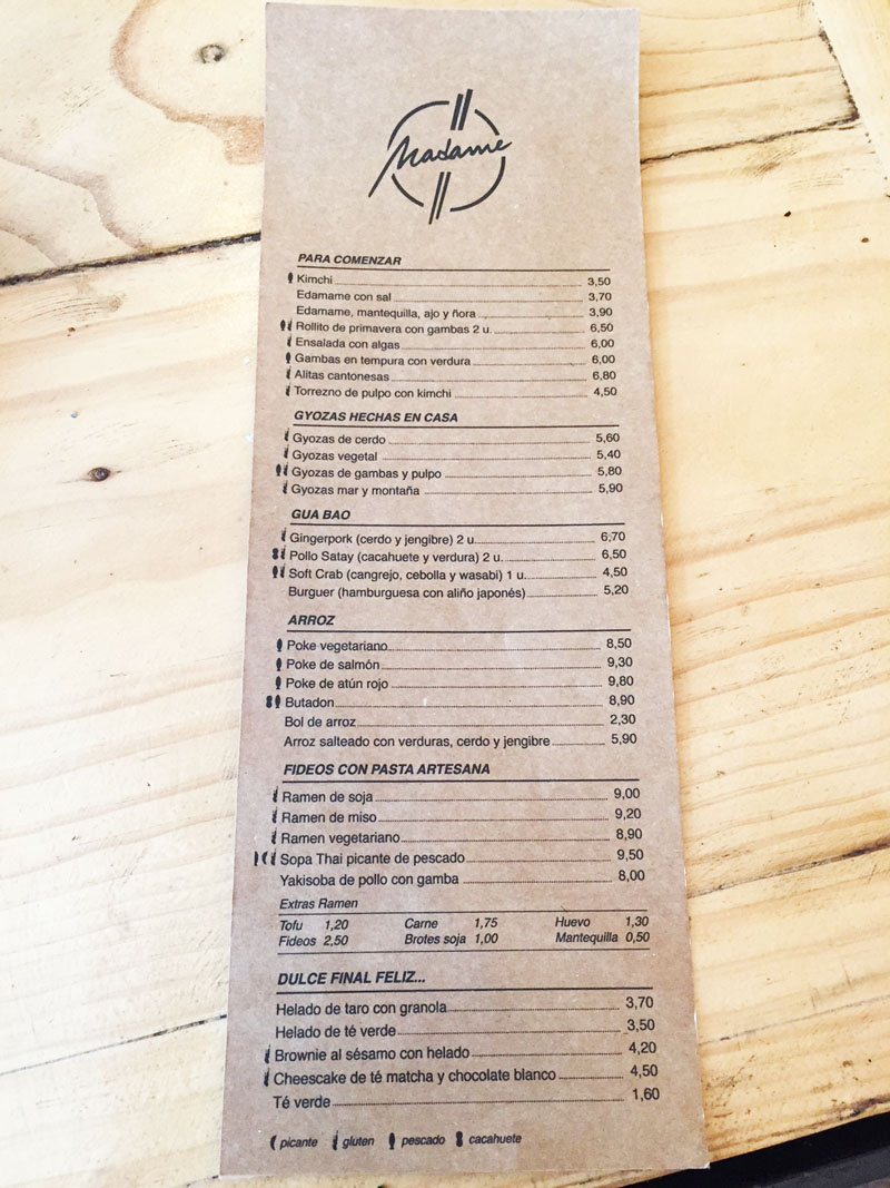 menu carta Madame Ramen
