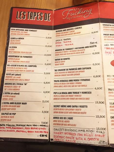 My Fucking Restaurant menu