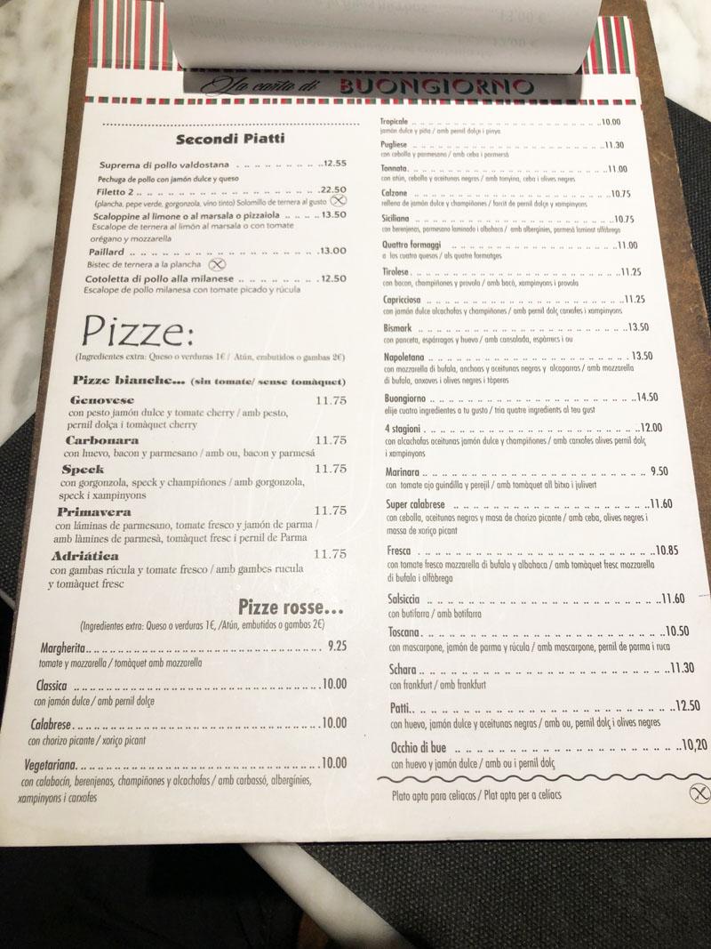 menu buongiorno pizzeria barcelona