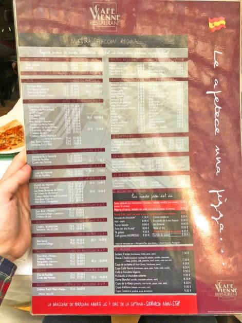 menu cafe vienne