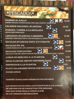 La Tinaja Menu y Carta de Platos