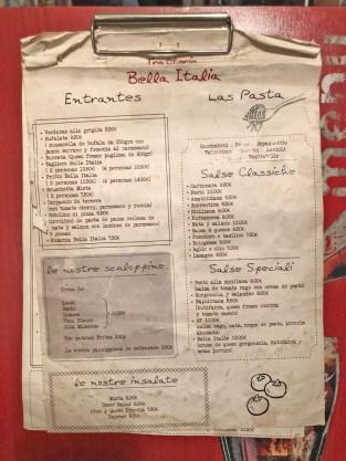 menu bella italia barcelona