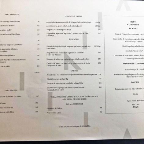 menu restaurante línea hotel almanac barcelona