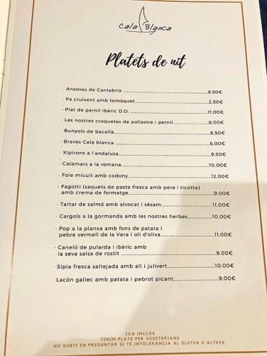 menu cala blanca