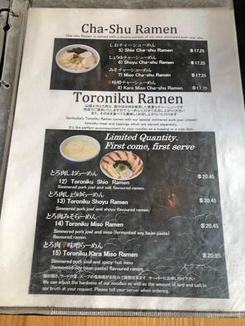 menu hokkaido ramen-santouka
