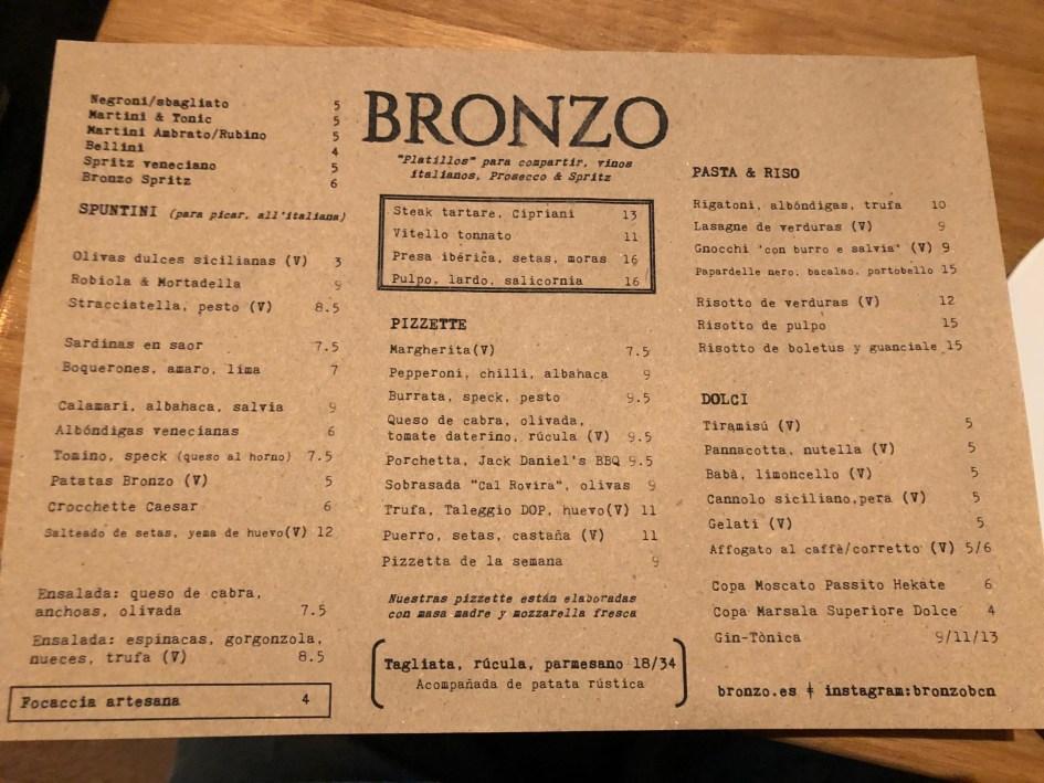 menu bronzo restaurante barcelona