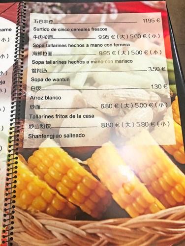 menu del dia restaurante dazhong barcelona