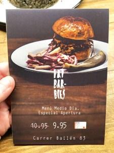 menu fat barbies barcelona