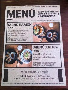 menu ramen shifu