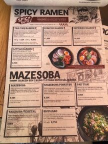 menu ramen shifu restaurante en madrid