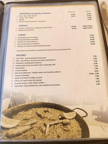menu carta restaurante sa caleta