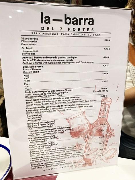 menu carta la barra del 7 portes
