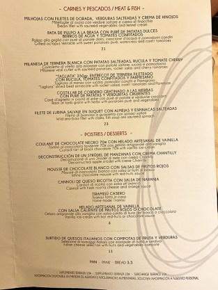 menu restaurante obe