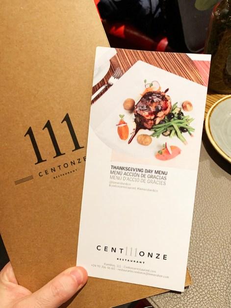 menú de Acción de Gracias del restaurante CentOnze