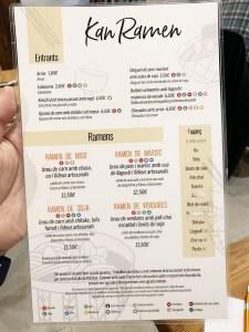 menu y carta de kan ramen