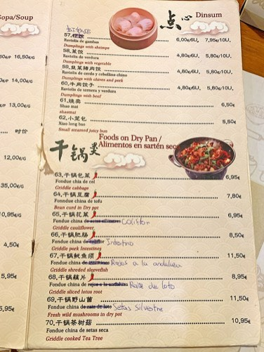 menu yue lai restaurante barcelona