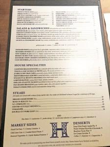 menu hendriks restaurant bar toronto
