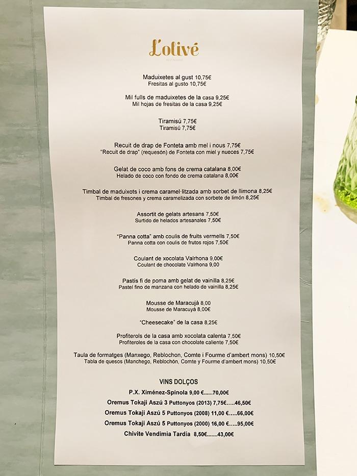 menu postres restaurante L'Olivé