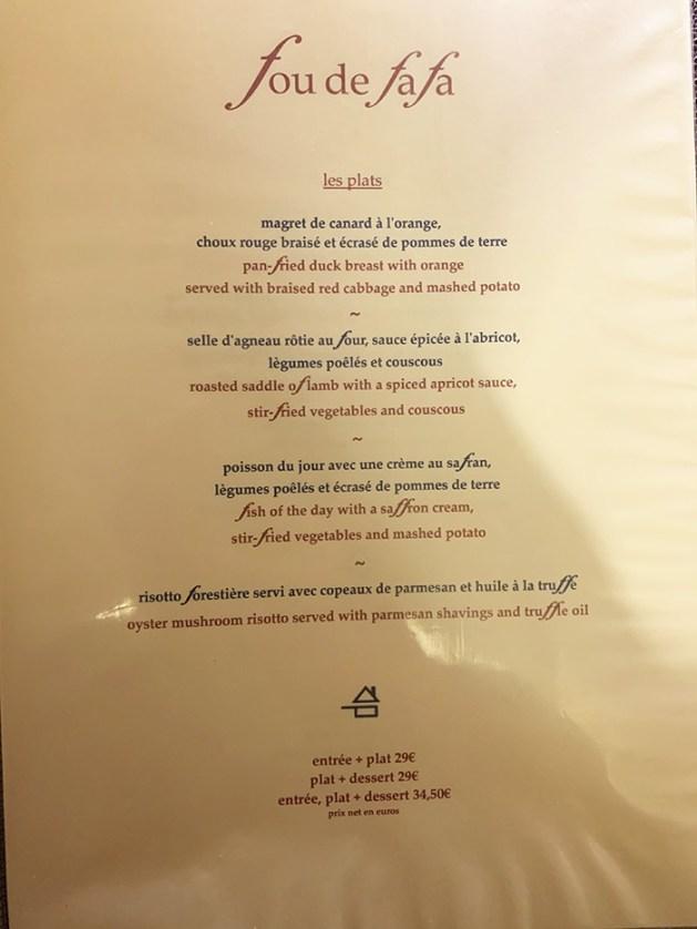 menu fou de fafa restaurante