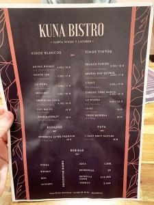 menu kuna bistro carta y platos