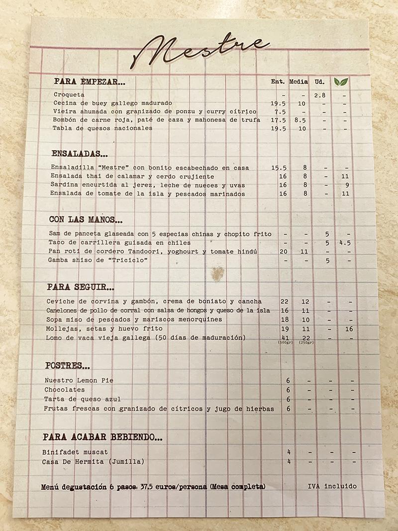 menu mestre d'aixa restaurante en mahón