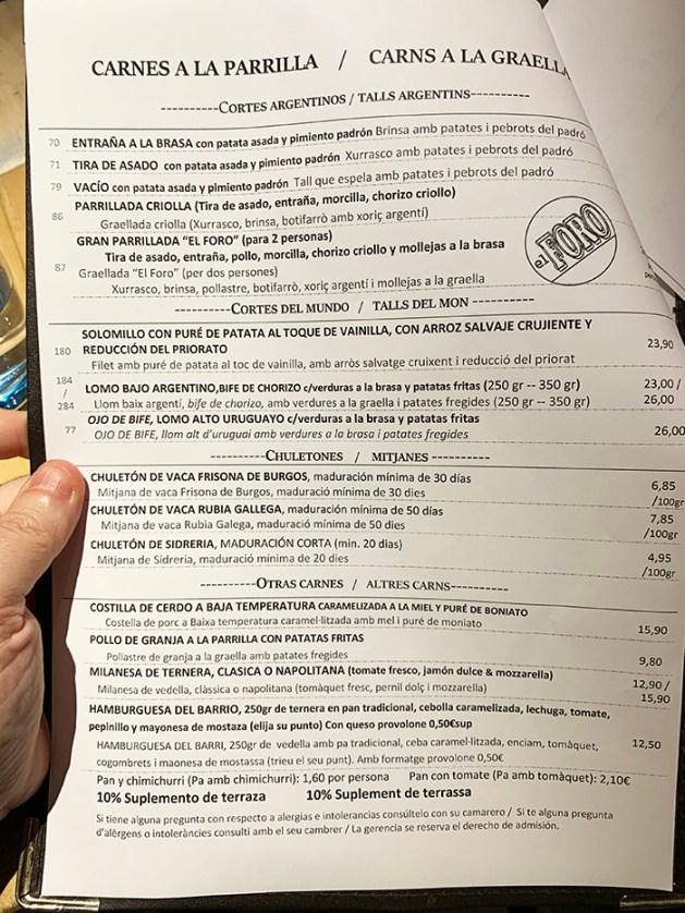menu restaurante el foro barcelona