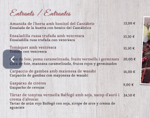 menu carta celler d'en toni restaurante andorra