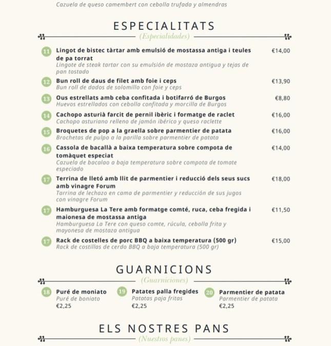 menu la tere gastrobar barcelona