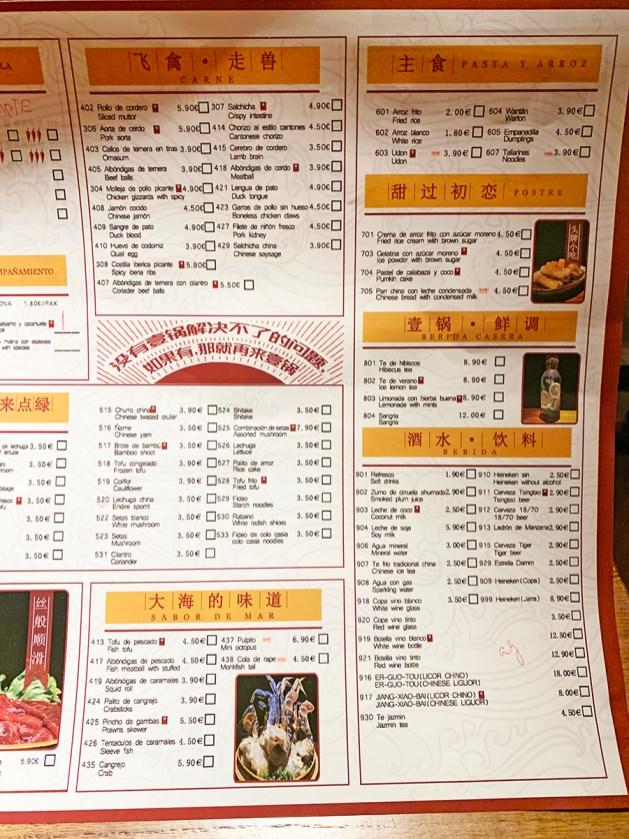 Menu Hot Pot de Sichuan