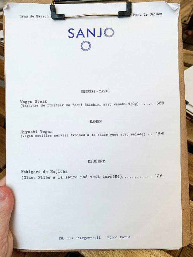Menú Sanjo París