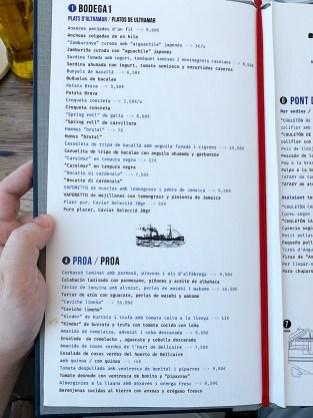 Menu Restaurante Ultramar L'Escala