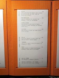 Carta Restaurante Virens Barcelona