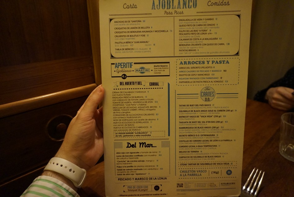 Carta Platos y Tapas del Ajoblanco Restaurante