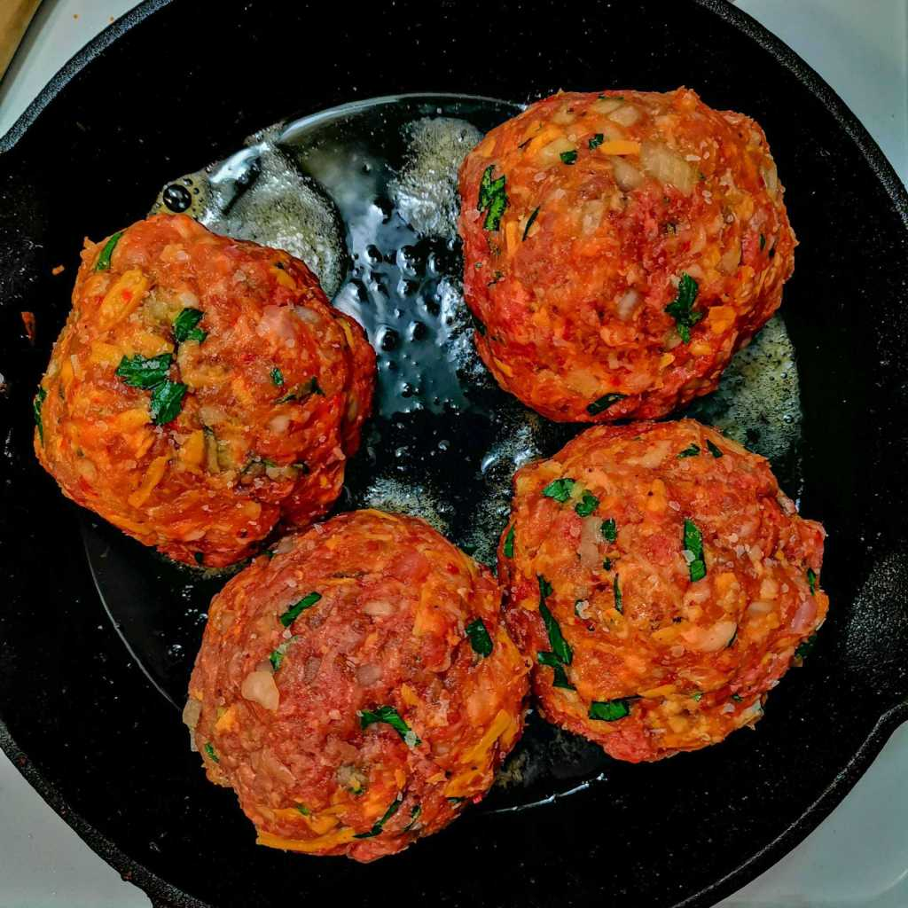 Giant Low carb Italian meatballs cooking