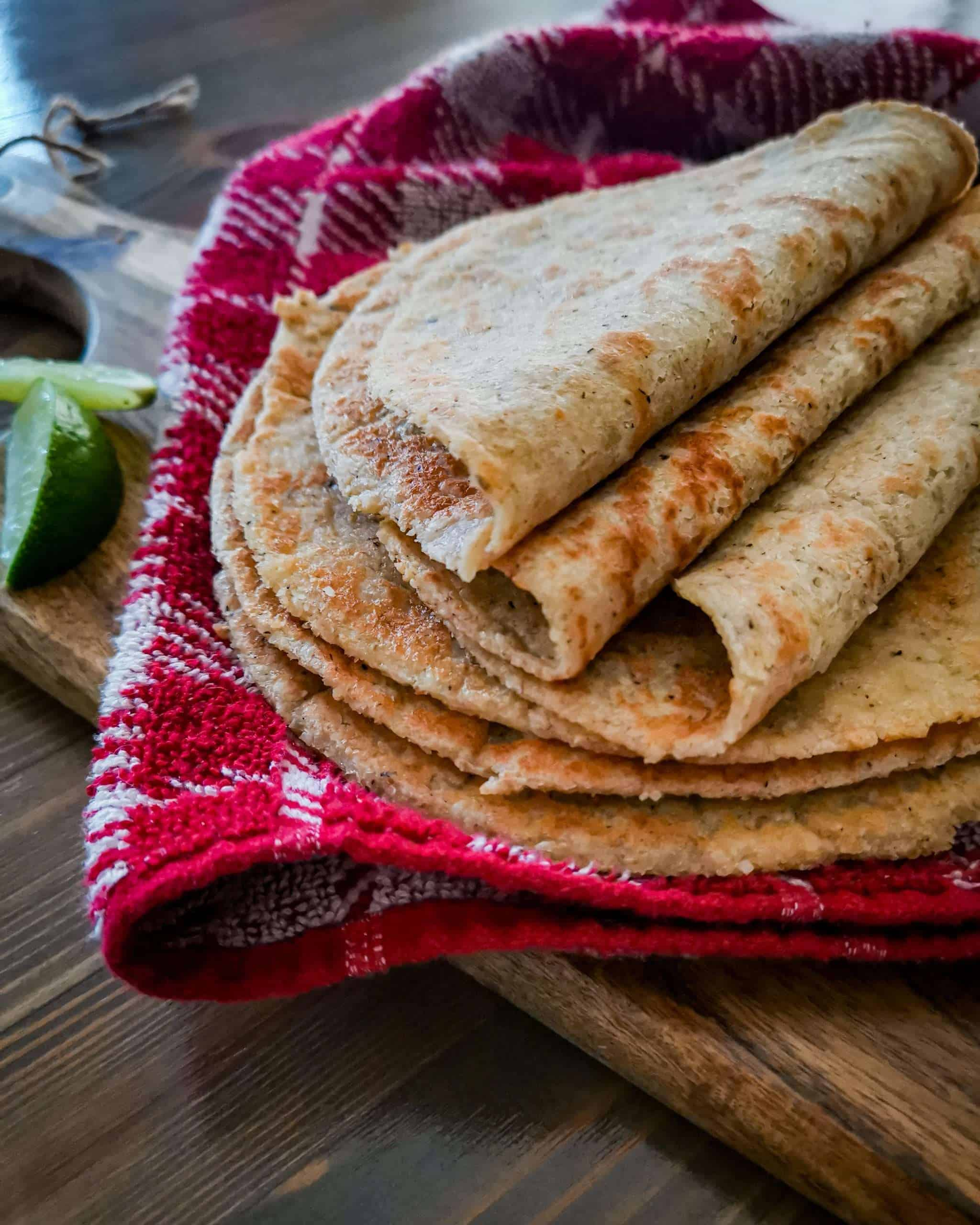 Homemade Keto tortillas folded