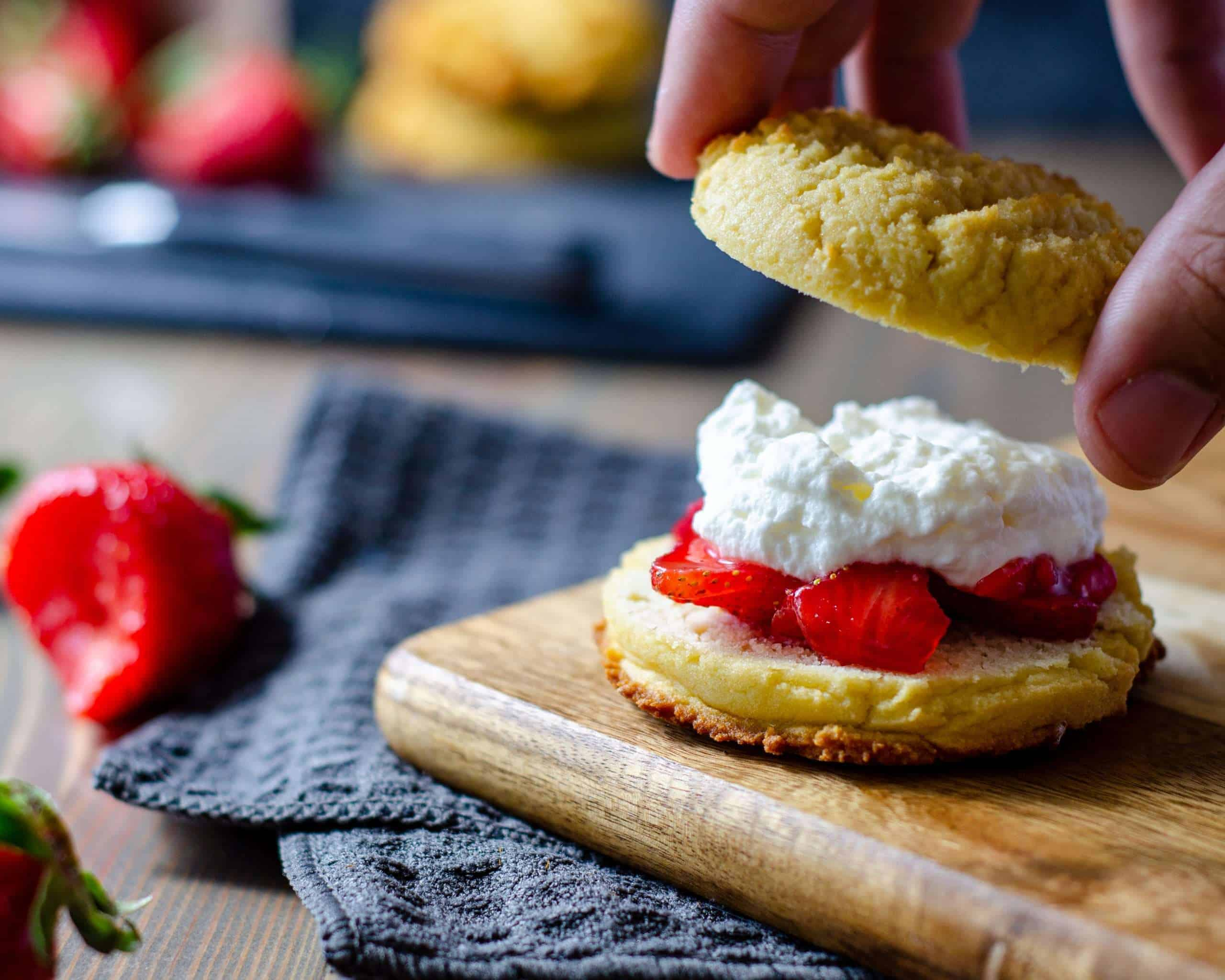 Assembling Low Carb Strawberry Shortcake