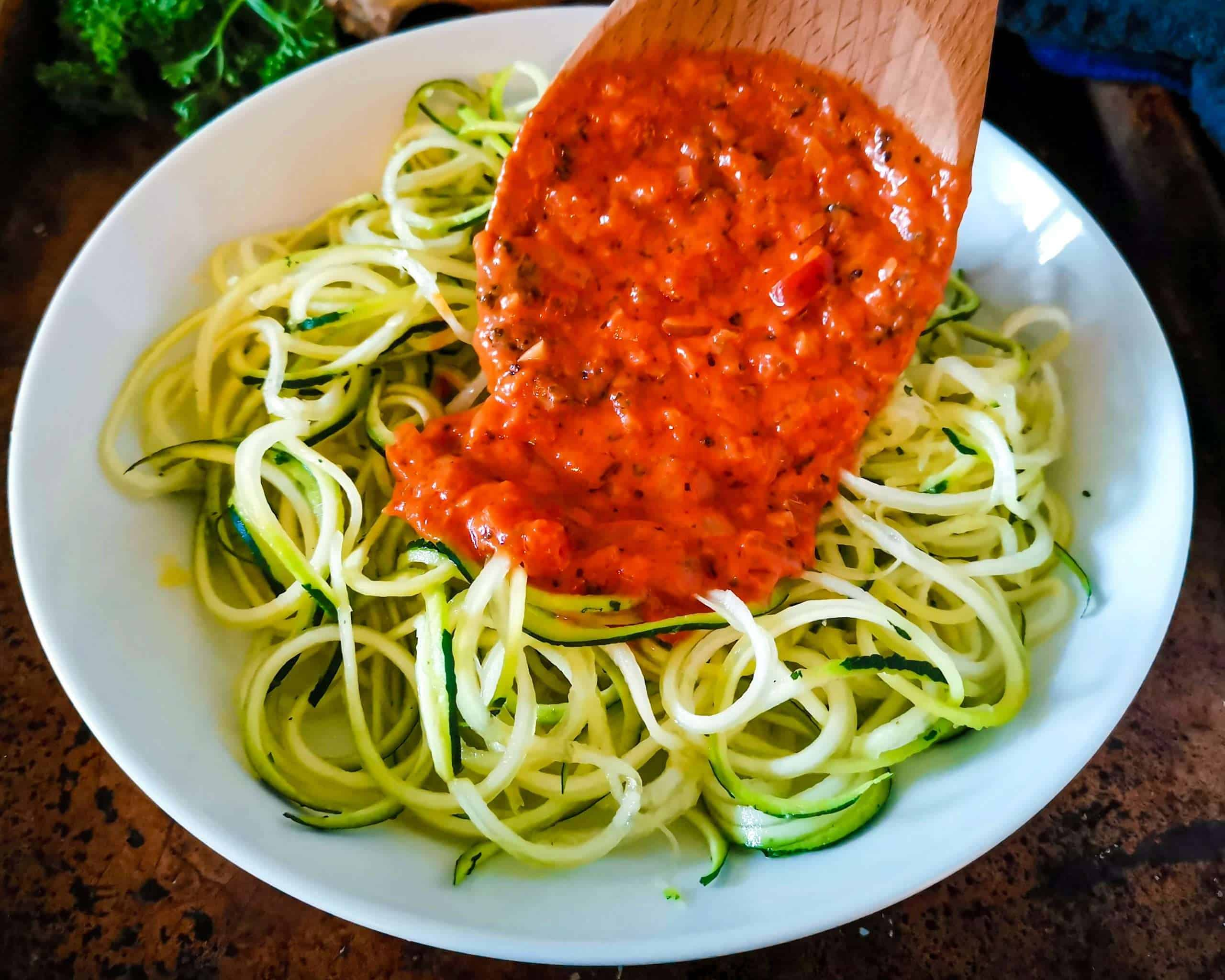 Zoodles and Low carb marinara sauce