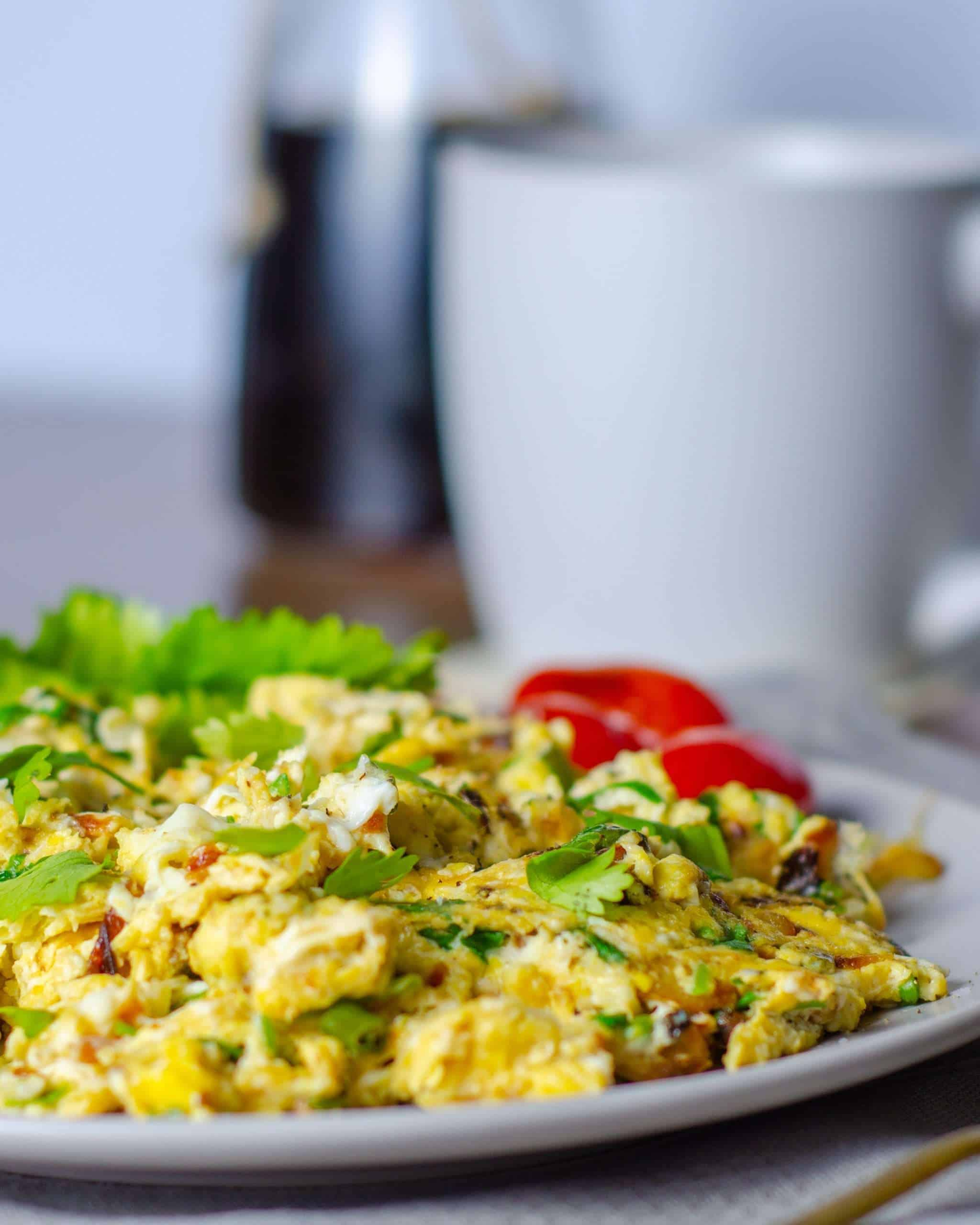 Egg Bhuri for breakfast with coffee