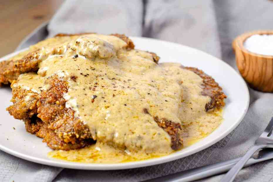Carnivore country Fried Steak with Country Pan Gravy on a plate