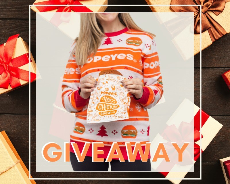 Popeye's Christmas Sweater & Gift Card Giveaway