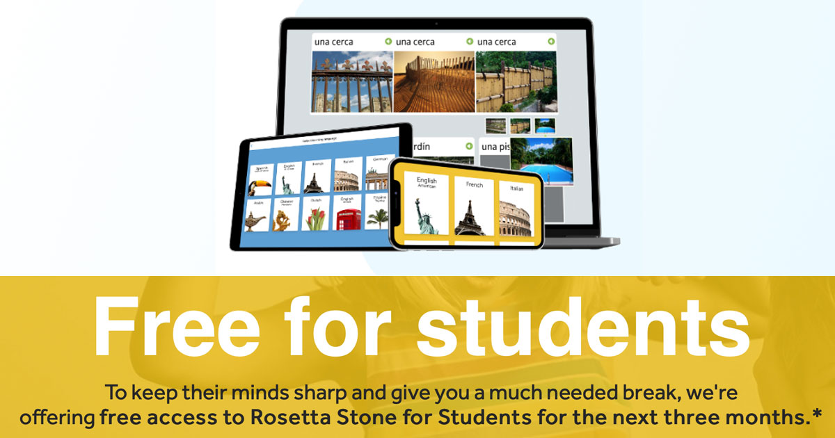 FREE 3 Months Subscription to Rosetta Stone