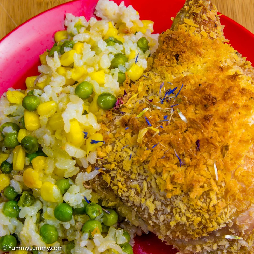Panko chicken thigh with pea and corn arborio rice