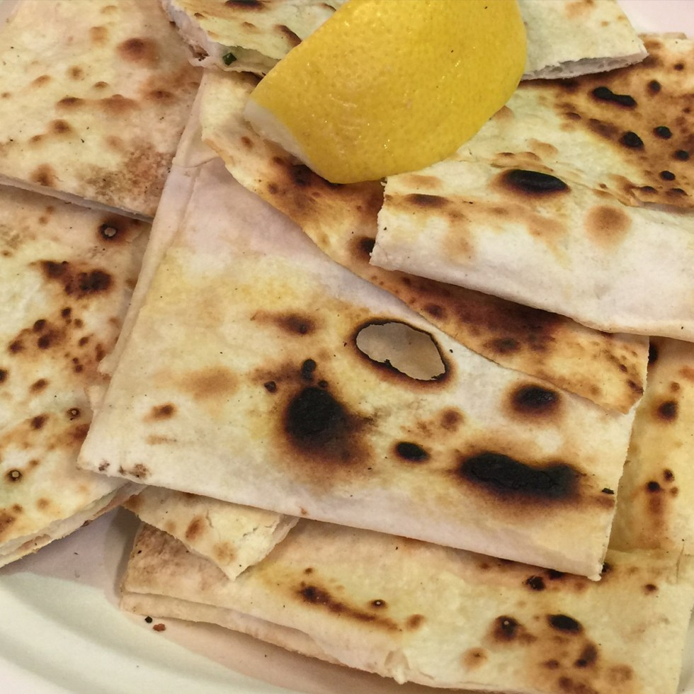 This is a photograph of my breakfast, Gozleme from the Capital Regional Farmers Market