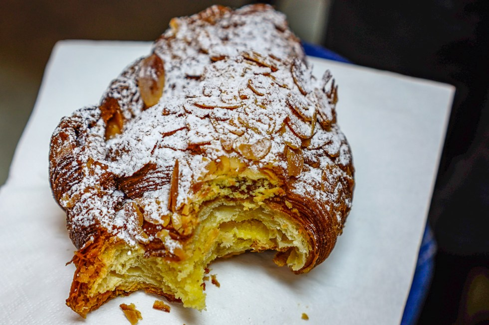 This is a photograph of an A.Baker Almond and custard croissant