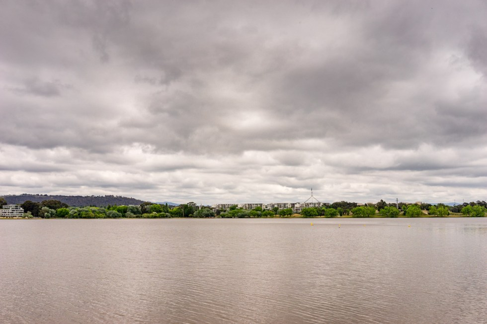 This is a photograph of Lake Burley Griffin from The Boathouse by the Lake
