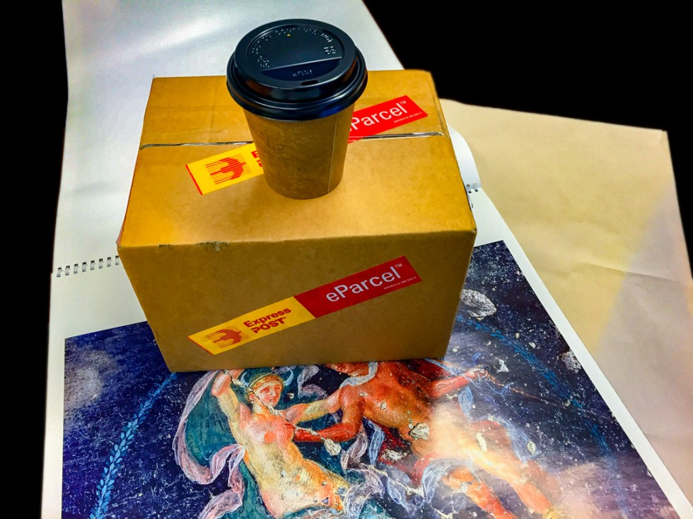 Coffee and a parcel