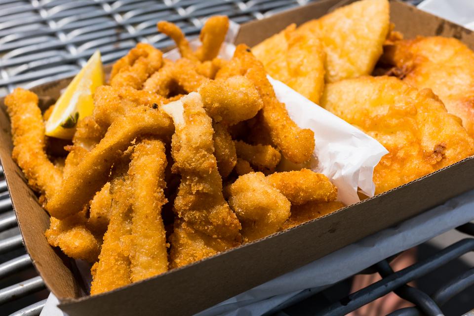 Potato scallops and crumbed calamari