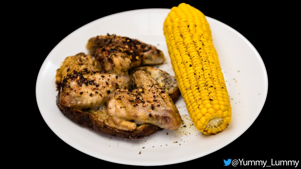 Hot and spicy chicken wings with sweet corn Gary Lum Yummy Lummy I know some people like to use the microwave oven but in my mind, the corn lacks something when cooked that way. With the method, I describe you can also add some aromatic spices or herbs like rosemary and garlic in the wrapped aluminium foil. Cooking sweet corn